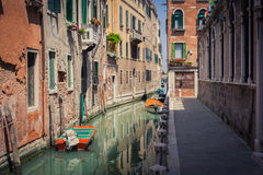 Venice canal. With gondolas and buildings Royalty Free Stock Photography