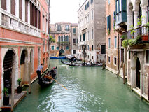 Venice canal. With gondolas stock photo