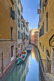 Venice Canal. A typical canal in Venice with beautifully colored houses Royalty Free Stock Photography