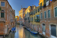 Venice Canal. A typical canal in Venice with beautifully colored houses Royalty Free Stock Photos