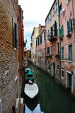 Venice Canal with beautiful bridge and typical venetian construction, houses colored, Venice, Italy summer 2016 Stock Images