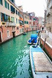 Venice, Canal and Boat. Stock Image