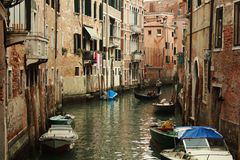 Venice. Canal in Venice, with boats Royalty Free Stock Photo
