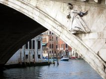 Venice canal and bridge royalty free stock images
