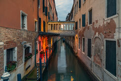 Venice - canal and a bridge in the evening Stock Photo