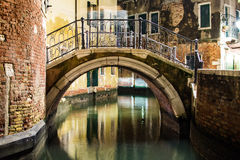 Venice canal and bridge view by night Royalty Free Stock Image