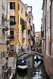 Venice canal and bridges Stock Images