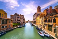 Venice canal in Cannaregio and San Geremia church landmark. Ital. Y. Long exposure photography royalty free stock photo