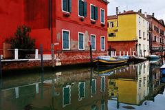 Venice canal and colorful houses, Italy Stock Photos