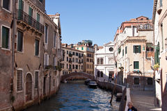Venice canal. Colorful picture of canal and bridge and buildings in Venice, Italy Royalty Free Stock Photography