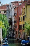 Venice canal. Colorful view of a small canal in Venice Stock Photos