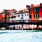 Venice Canal. Digital painting of houses at the canal in Venice, Italy royalty free illustration