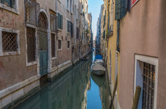 Venice 7. Venice canal enclosed with private dwellings each side Stock Photography
