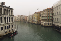 Venice canal in fog Royalty Free Stock Images