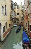 Venice Canal and Gondolas Stock Photo
