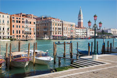 Venice - Canal grande and boats and bell tower Stock Image