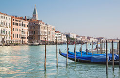 Venice - Canal grande and boats for church Santa Maria della Salute. Royalty Free Stock Photography