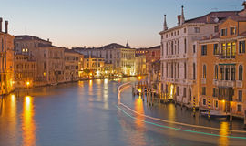Venice - Canal grande in evening dusk from Ponte Accademia Stock Photography