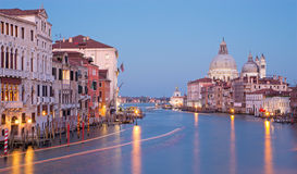 Venice - Canal grande in evening dusk from Ponte Accademia Royalty Free Stock Photos