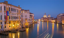 Venice - Canal grande in evening dusk from Ponte Accademia Royalty Free Stock Image