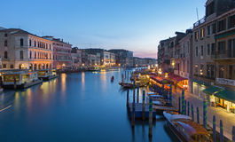 Venice - Canal grande in evening dusk from Ponte Rialto Stock Photography