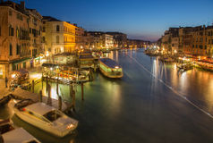 Venice - Canal grande in evening dusk from Ponte Rialto Royalty Free Stock Image
