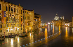 Venice - Canal grande at night from Ponte Accademia Royalty Free Stock Photos