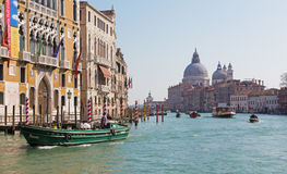 Venice - Canal grande under Ponte Accademia and church Santa Maria della Salute Royalty Free Stock Image