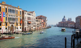 Venice - Canal grande under Ponte Accademia and church Santa Maria della Salute Royalty Free Stock Images