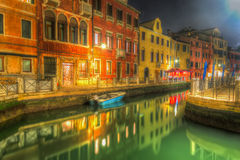 Venice canal in hdr. Tone mapped Royalty Free Stock Images