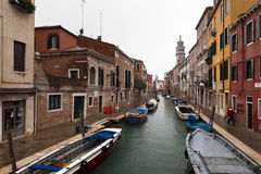 Venice canal and houses in rainy winter day Royalty Free Stock Photography