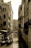Venice Canal, Iron Bridge, Gondolas, Cafe Restaurant Terrace - Sepia Stock Images