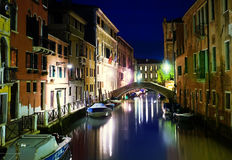 Venice Canal, Italy. Small Venice Canal at Night, Italy Royalty Free Stock Images