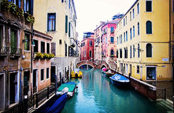 Venice. A canal in Venice, Italy in the rain Stock Images