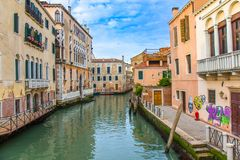 Venice canal in Italy stock photo