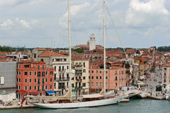 Canals of Venice , Italy. Luxury Yacht on the Grand Canal in Venice, Italy Royalty Free Stock Photos