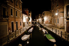 Venice canal by night Stock Photo