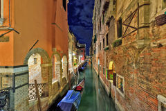 Venice canal at night Royalty Free Stock Photo