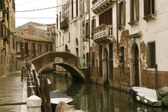 Venice Canal. Old fashined canal photo in venice Stock Images
