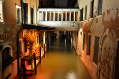 Venice canal. Photograph of a canal in Venice taken at night Stock Images