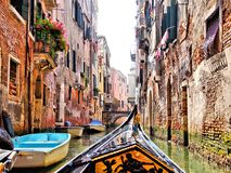 Venice canal scene with gondola Stock Photos