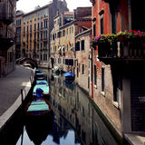 Venice - Canal Series. Imagine having a flower laden patio overlooking a Venetian canal. Dream Royalty Free Stock Photography