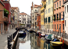 Venice - Canal Series. One of the many quiet but pretty and colourful canals in Venice Stock Images