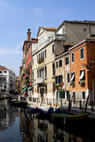 Venice - Canal Series. One of the many quiet but pretty and colourful canals in Venice stock photos