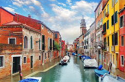 Venice canal with ship Stock Photos