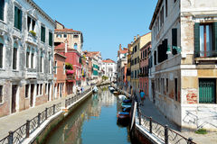 Venice canal. Canal in Venice , ship, boat , pedestrian Stock Images