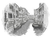 Venice canal vector sketch Royalty Free Stock Image