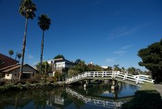 Venice canals bridge reflection, los angeles Royalty Free Stock Photography