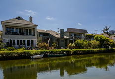 The Venice Canals. Houses along the Venice Canals, in Venice Beach, Los Angeles, California Royalty Free Stock Images