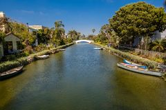 The Venice Canals. Houses along the Venice Canals, in Venice Beach, Los Angeles, California Royalty Free Stock Image